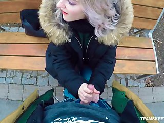 Picked up outdoors unspecified Eva Elfie gives a stranger a enjoyable blowjob
