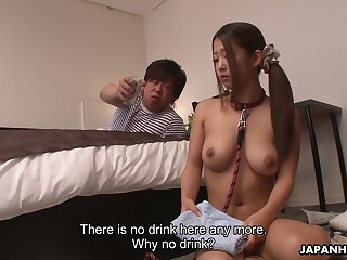 Female Japanese butler Satomi Suzuki gives a blowjob to say no to man