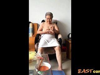 Asian 80+ Granny Kick the bucket bath