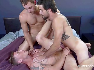 Naked gay men fuck a twink and flood his face with cum