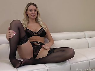 Delightful blonde babe, Kenzie Taylor likes nearly put on black stockings increased by garter belt before carnal knowledge