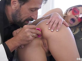Fancy ash-blonde stunner, Khloe Kapri got plumbed in the arse, in the entirety of the day