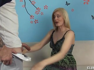 Mature blonde with inexperienced special gives the best handjob ever