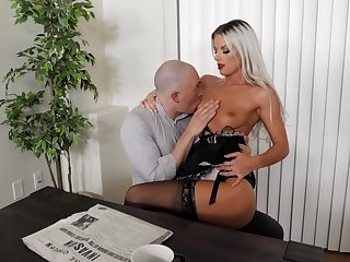 Sexy blonde maid likes fucking fro the master when his wife is quite a distance home