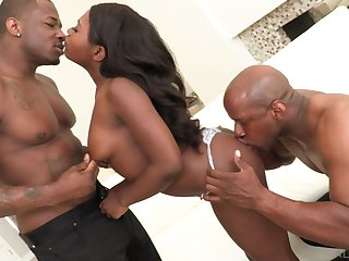Addictive scenes be proper of perfidious threesome unaffected by a tight ebony ass