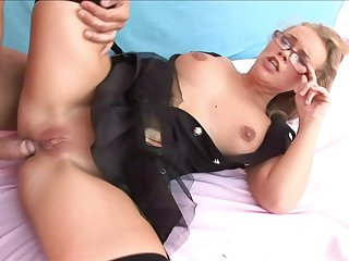 Conscientious pussy and ass fucking with desirable tow-haired wife Colette