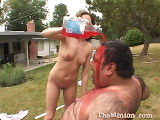 Fat guy rubbing away a thicken with the addition of fucking skinny chick Katrina Isis