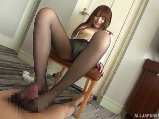 Extraordinary shabby sex with nylon-clad Asian using a Hitachi overhead herself