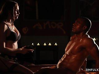 Candle light interracial sex video featuring seductress Stacy Cruz