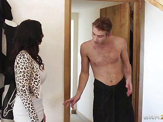 Wife Louise Jenson waits for her hubby in her lingerie and gets fucked