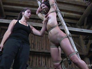 Perverted gagged bondage trull Wenona deserves nothing but hard treatment