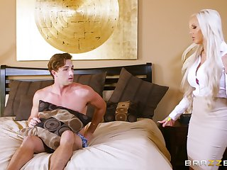 Blonde perfection anon Nina Elle and Elsa Jean share a stud