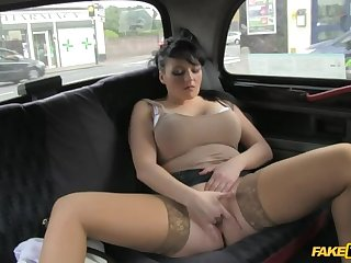 Smoking Hot Cougar Lets Her Massive Tits Loose All Over Cabbie's Hawkshaw